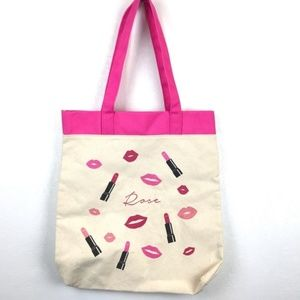 Lancôme Rose Lipstick Canvas Tote
